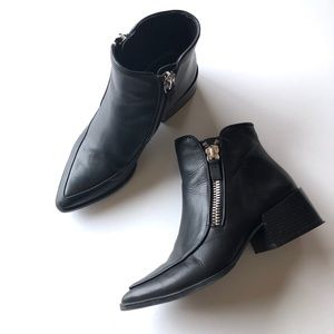 Zara black leather ankle boots with side zip